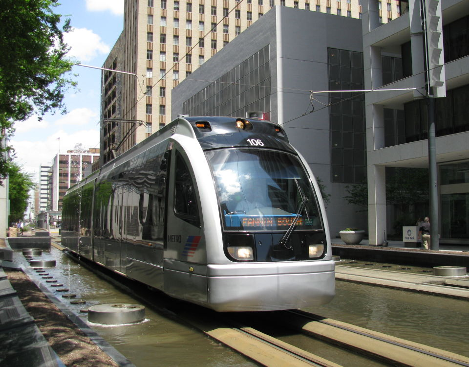 tram in downtown houston