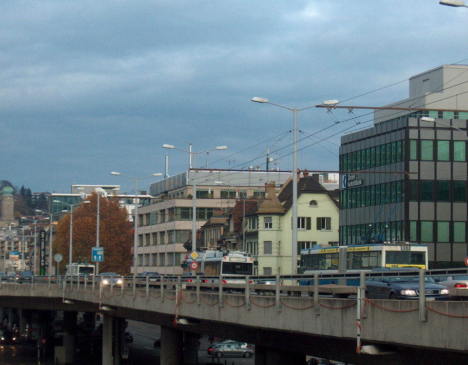 Winterthur trolleybus in Zürich on Hardrbücke