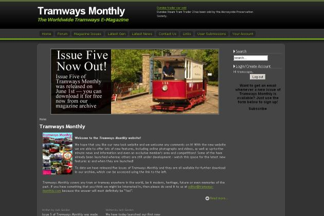 screenshot of tramways monthly website