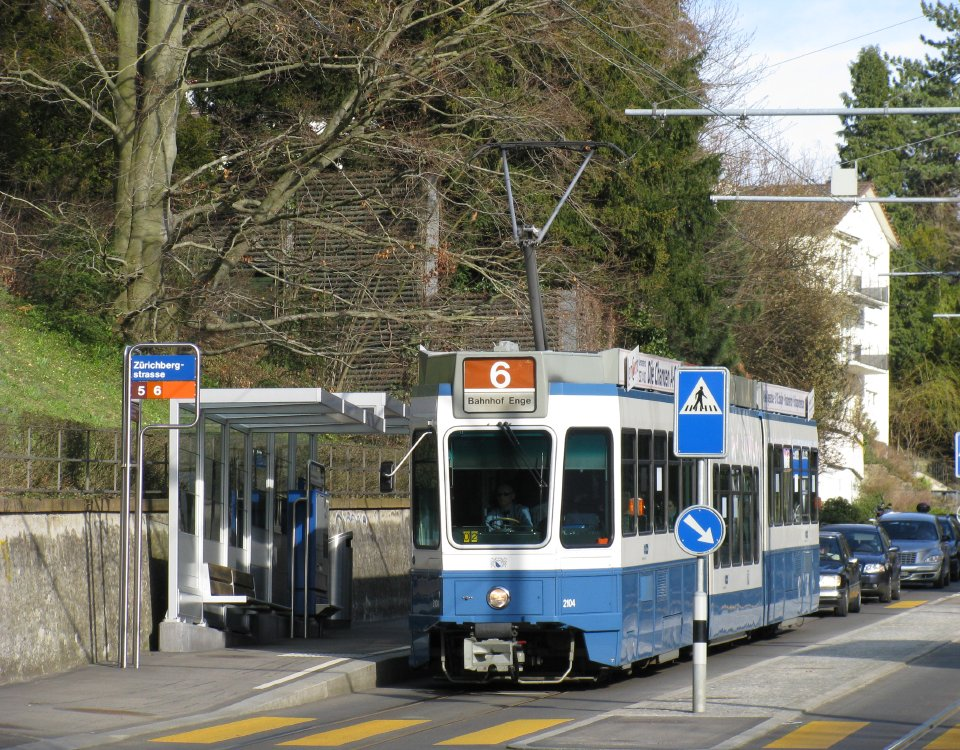 Tram route 6 at Zuerichbergstrasse