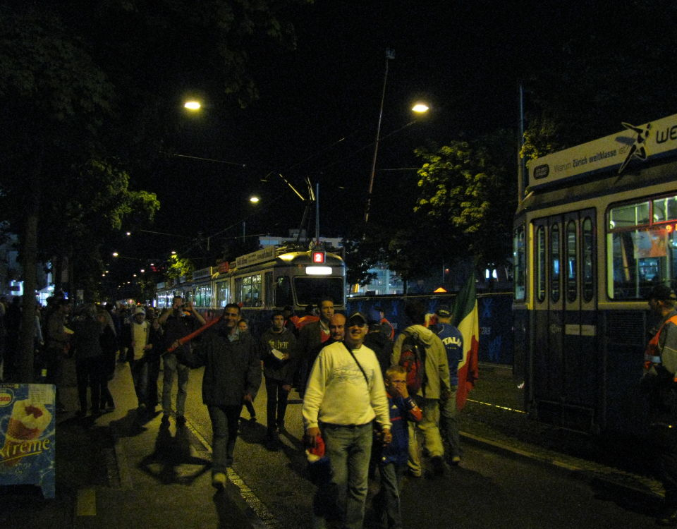 mirage trams and football fans, Italy vs. France