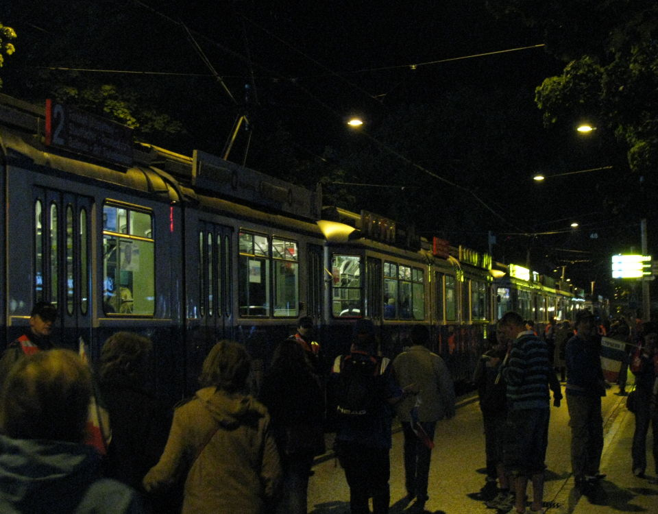 football crowds and trams