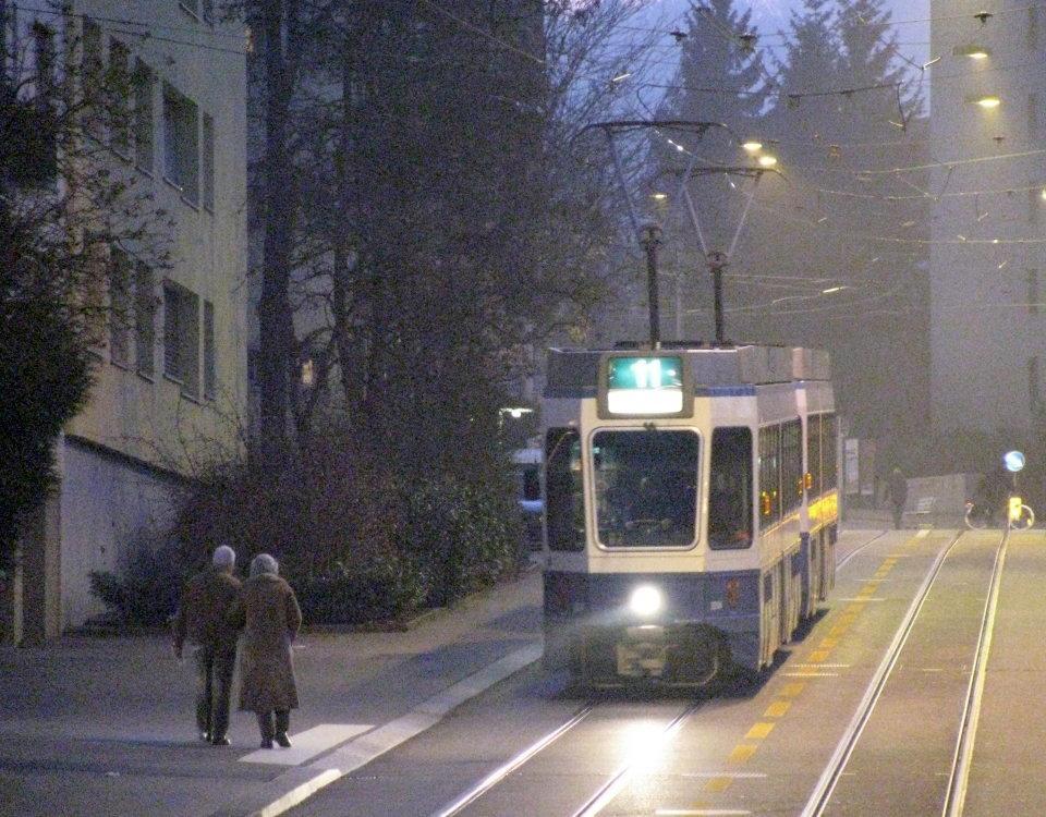 tram in fog