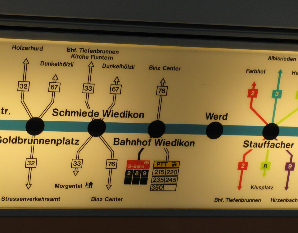 backlit route display in Tram 2000