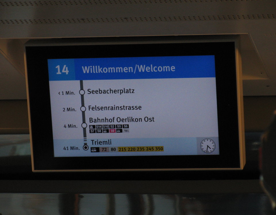 display screen in Tram 2000