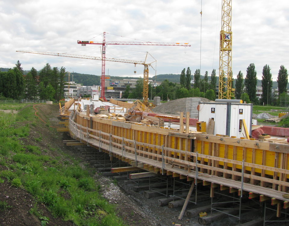 Glattalbahn at Giessen under construction