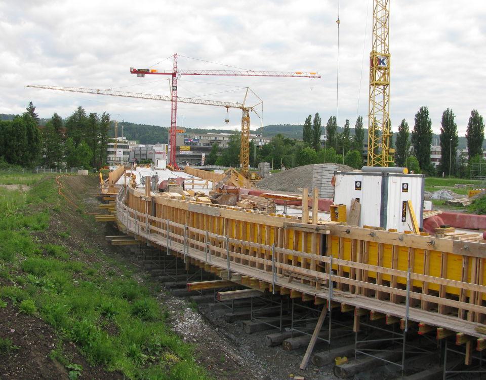 Glattalbahn at Giessen under construction