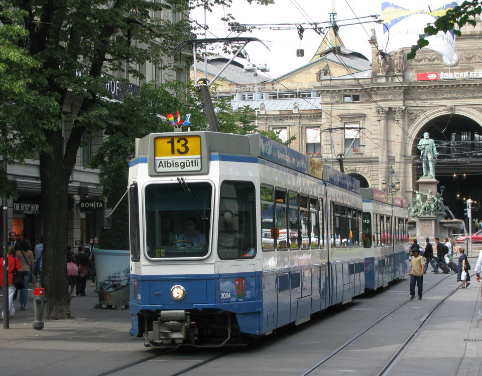 tram 2000 on route 13 in bahnhofstrasse