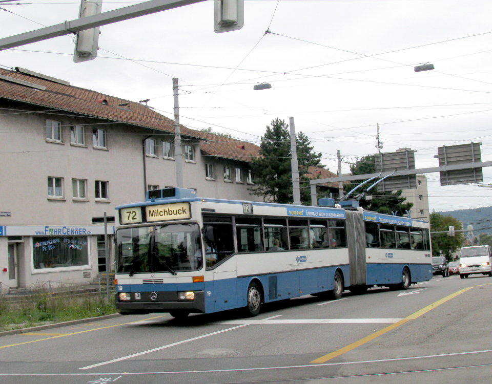 Mercedes / ABB O405 GTZ trolleybus number 19 at Bucheggplatz
