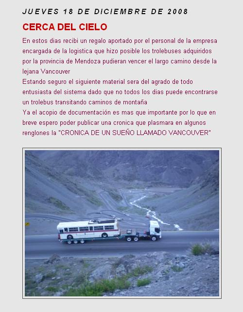 Mendoza trolleybus in Andes